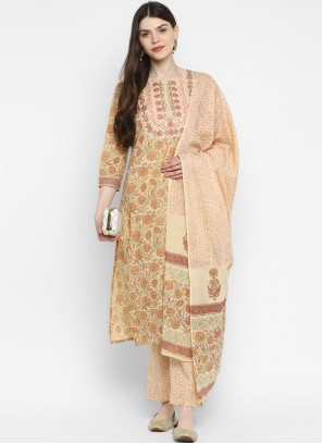 Printed Cotton Beige Readymade Suit
