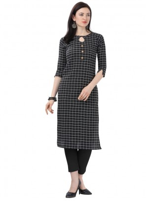 Printed Cotton Black Designer Kurti