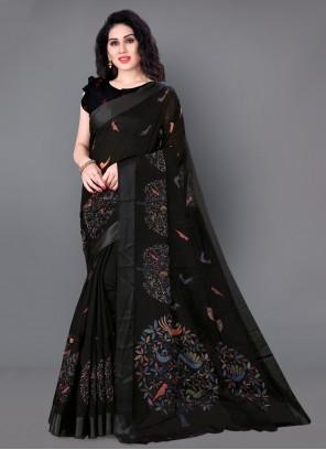 Printed Cotton Black Traditional Saree