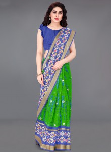 Cotton Blue and Green Printed Saree