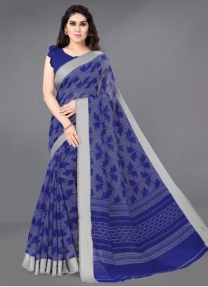 Printed Cotton Blue Contemporary Saree