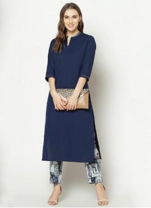 Printed Cotton Blue Designer Kurti