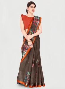 Printed Cotton Brown Saree