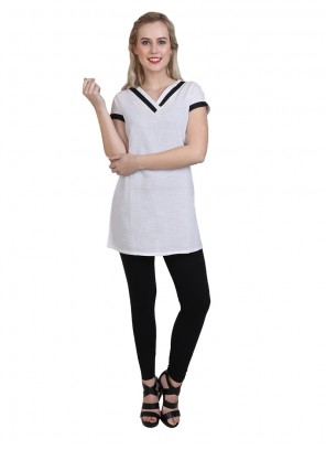Printed Cotton Casual Kurti in White