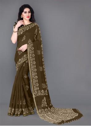 Printed Cotton Khaki Casual Saree
