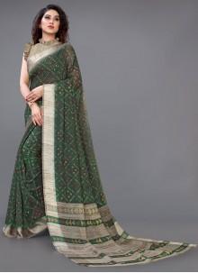 Green Printed Cotton Casual Saree