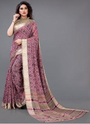 Pink Printed Cotton Casual Saree