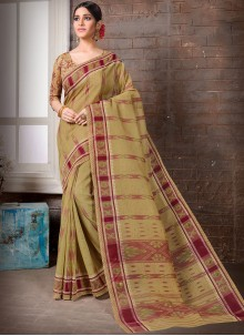 Printed Cotton Casual Saree in Brown