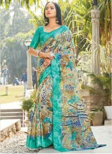 Printed Cotton Casual Saree in Sea Green