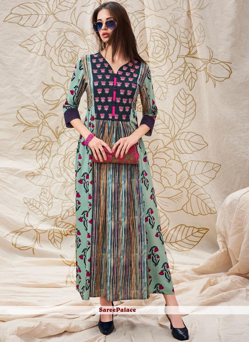 Turquoise Printed Cotton Designer Kurti
