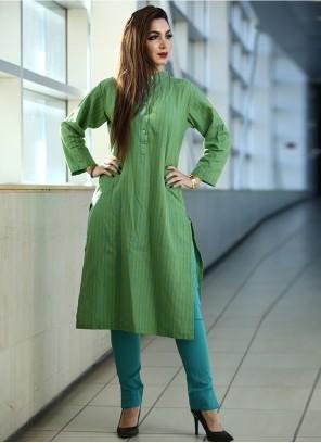Printed Cotton Green Party Wear Kurti