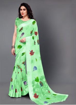 Printed Cotton Green Trendy Saree