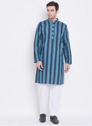 Printed Cotton Kurta Pyjama in Multi Colour
