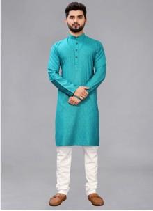 Printed Cotton Kurta Pyjama in Teal