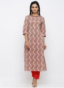 Printed Cotton Multi Colour Salwar Kameez
