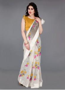 Printed Cotton Off White Contemporary Saree