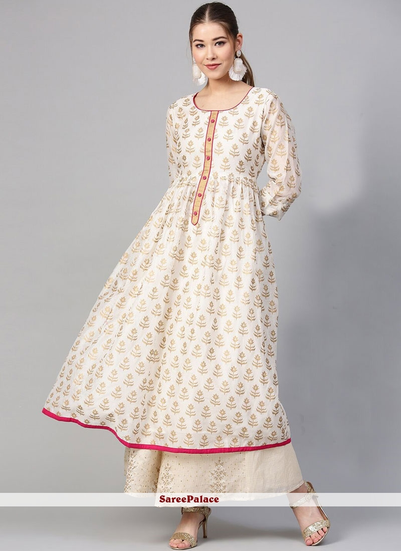 White Printed Cotton Party Wear Kurti