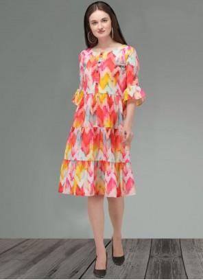 Printed Cotton Multi Colour Party Wear Kurti