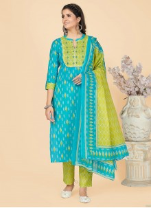 Turquoise Printed Cotton Party Wear Kurti