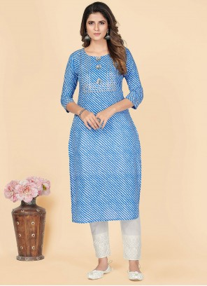 Blue Printed Cotton Party Wear Kurti