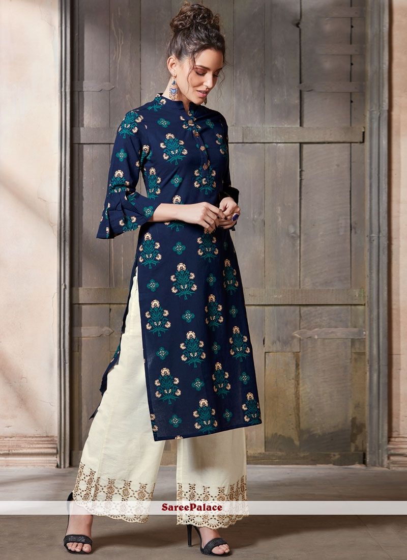 Printed Cotton   Party Wear Kurti in Navy Blue