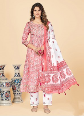 Printed Cotton Party Wear Kurti in Pink
