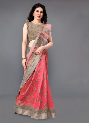Printed Cotton Pink Classic Saree
