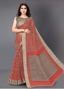 Red Printed Cotton Printed Saree