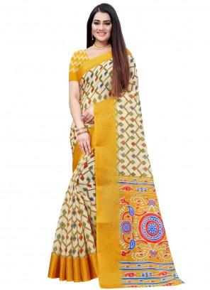 Yellow Printed Cotton Saree
