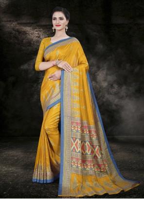 Mustard Cotton Printed Saree