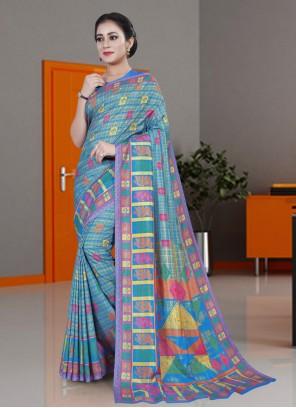 Printed Cotton Saree in Blue