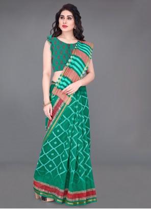 Printed Cotton Saree in Green