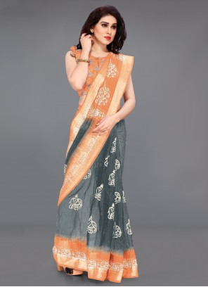 Printed Cotton Saree in Grey and Peach