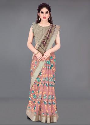 Printed Cotton Printed Saree in Multi Colour