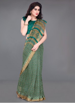 Printed Cotton Saree in Teal