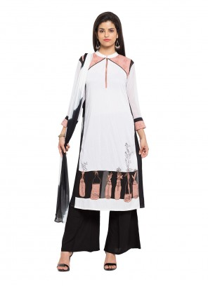 Printed Cotton Readymade Salwar Kameez in Off White