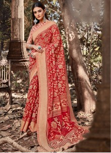 Printed Cotton Red Saree