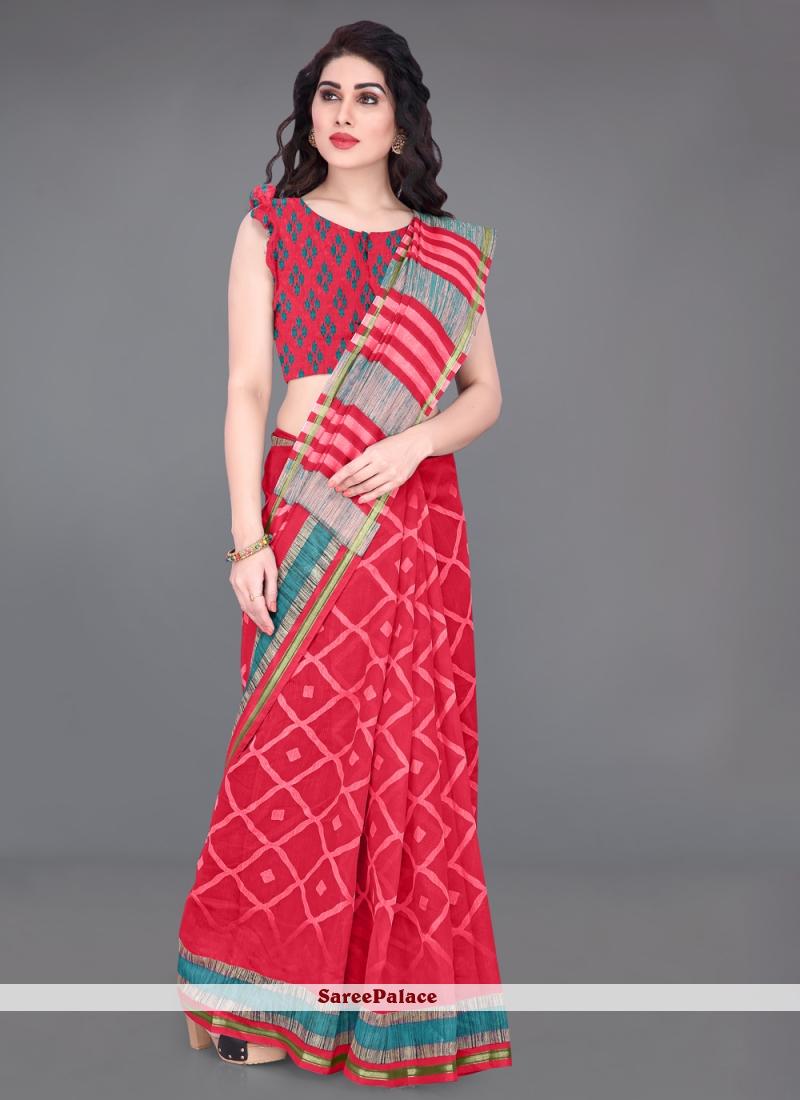 Printed Cotton Red Saree