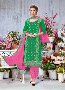 Printed Cotton Salwar Suit in Green