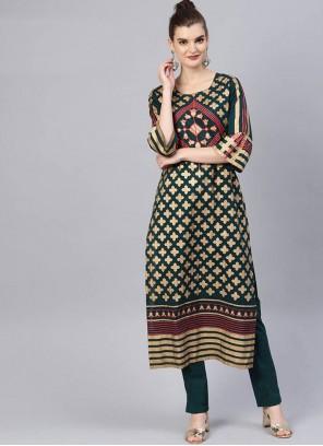 Printed Cotton Salwar Suit in Green