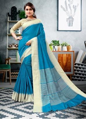 Aqua Blue Printed Cotton Silk Trendy Saree