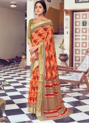 Multi Colour Printed Cotton Traditional Saree