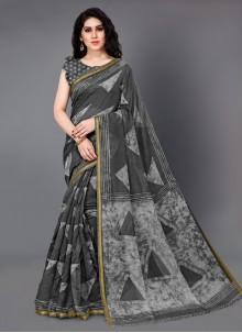 Printed Cotton Grey Trendy Saree