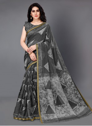 Printed Cotton Grey Trendy Saree