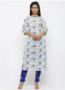 Printed Cotton White Salwar Kameez