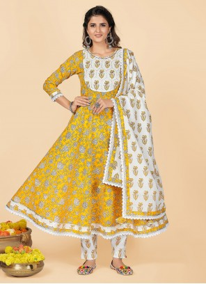 Printed Cotton Yellow Party Wear Kurti