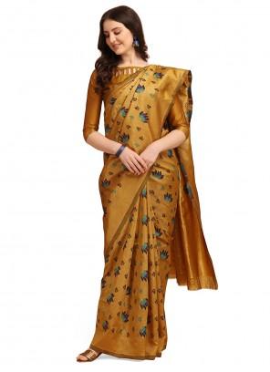 Printed Cotton Yellow Traditional Saree