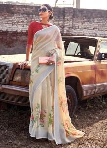 Printed Cream Cotton Silk Saree