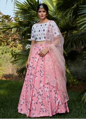 Printed Crepe Silk A Line Lehenga Choli in Pink and White
