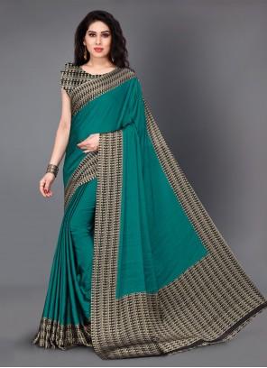 Printed Crepe Silk Teal Classic Saree